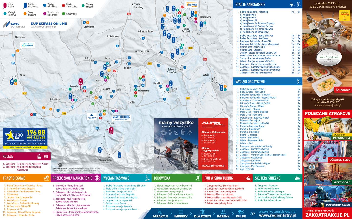 Mapy Region Tatry Zakopane Szlaki Turystyczne Atrakcje Zimowe